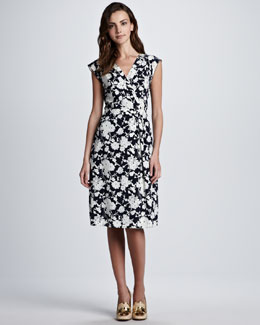Tory Burch Victoria Floral-Print Silk Dress