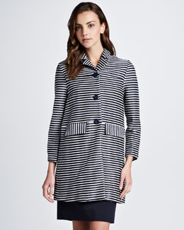 Tory Burch Elaina Raffia Striped Coat