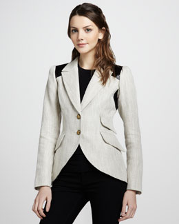 Smythe Equestrian Colorblock Elbow-Patch Blazer