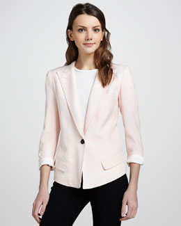 Smythe Sharp-Shoulder One-Button Blazer