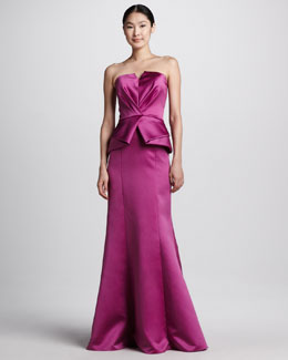 David Meister Signature Strapless Mermaid Peplum Gown