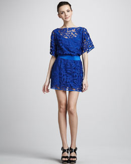 Milly Drop-Waist Lace Dress with Bateau Neckline