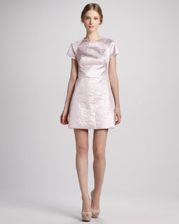 Tibi Paneled Metallic Jacquard Dress