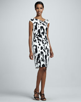 Talbot Runhof Leopard-Print Ruched Cocktail Dress
