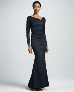 Talbot Runhof Long-Sleeve Ruched Mermaid Gown