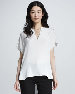 Vince Split-Neck Silk Top