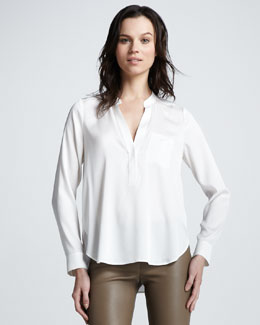 Vince Half-Placket Pocket Blouse
