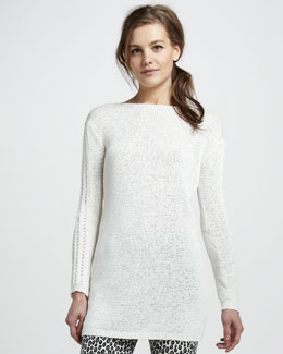 Rachel Zoe Semisheer Ribbed Tunic Sweater