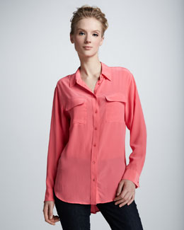Equipment Signature Super Vintage Wash  Blouse, Watermelon