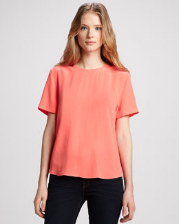 Equipment Riley Short-Sleeve Silk Blouse