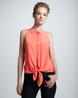 Equipment Sleeveless Tie-Hem Blouse
