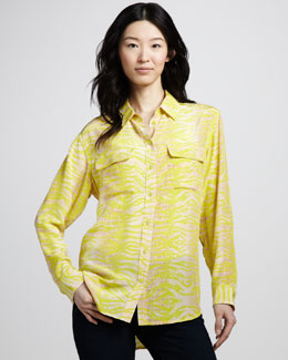 Equipment Signature Future Reptile-Print Blouse