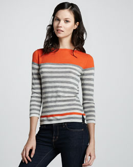 Autumn Cashmere Engineered Stripe Cashmere Sweater