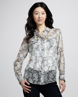 Equipment Slim Signature Butterfly Wing-Print Blouse