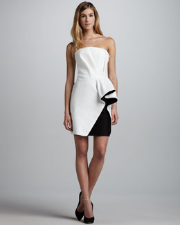 Halston Heritage Colorblock-Ruffle Strapless Dress