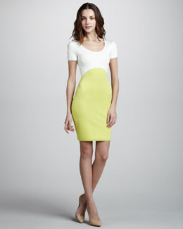 Halston Heritage Short-Sleeve Colorblock Ponte Dress