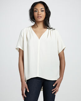 Halston Heritage Washed Silk Short-Sleeve Top