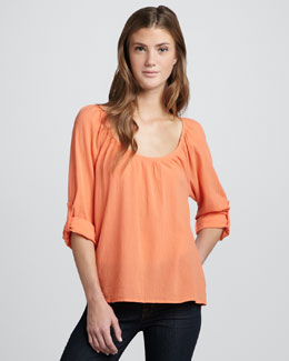 Joie Heron Cotton Crepe Top, Hot Coral