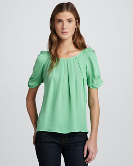 Joie Eleanor Silk Boat-Neck Top