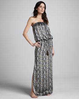 Marie France Van Damme Snake-Print Blouson Maxi Dress