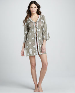Letarte Embroidered Tie-Front Coverup
