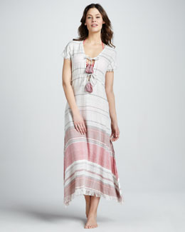 Letarte Striped Short-Sleeve Maxi Dress
