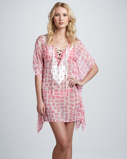 Letarte Lace-Up Chiffon Caftan