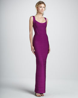 Herve Leger Scoop-Neck Bandage Gown