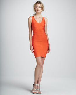 Herve Leger V-Neck Racerback Bandage Dress, Orange