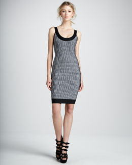 Herve Leger Printed Scoop-Neck Bandage Dress
