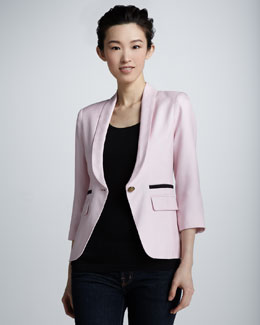 Smythe One-Button Shawl Collar Blazer, Magnolia
