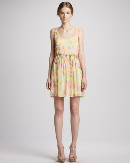 Alice + Olivia Louise Gathered-Skirt Floral Dress