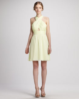 Alice + Olivia Martine Wrap Tulip Keyhole Dress, Limon
