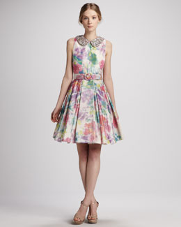 Alice + Olivia Lollie Belted Embellished-Collar Dress