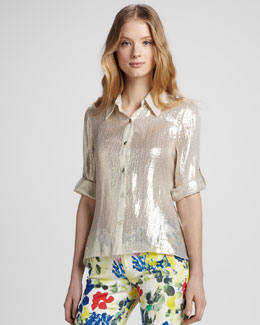 Alice + Olivia Drew Metallic Silk Blouse