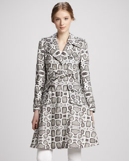 Alice + Olivia Klein Snake-Embossed Leather Trenchcoat