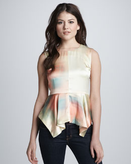 Elizabeth and James Yumi Watercolor Peplum Top, Sunrise