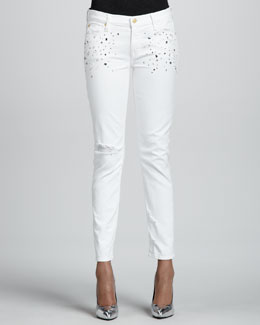 7 For All Mankind Slim Cigarette Jeans with Crystals, White