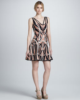 Herve Leger Printed Flared Bandage Dress