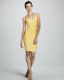 Herve Leger Scoop-Neck Bandage Dress