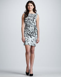 Diane von Furstenberg New Della Paint Splash Printed Dress