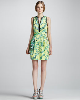 Nanette Lepore Porcelain-Print Strappy-Back Dress
