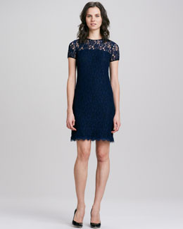 Diane von Furstenberg Lace Semisheer-Yoke Dress
