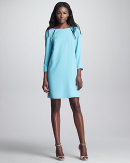 Tibi Peekaboo Shoulder Shift Dress
