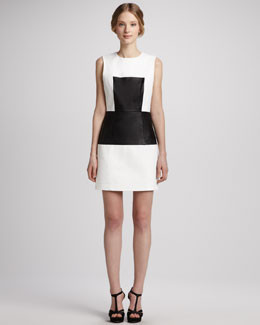 Tibi Leather-Panel Sleeveless Dress