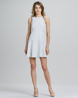 Tibi Sleeveless Bias-Cut Linen-Blend Dress