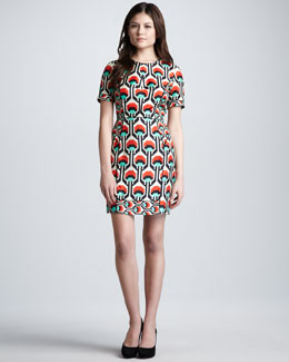 Milly Short-Sleeve Geometric-Print Dress