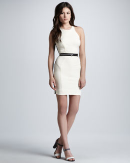 Milly Zip-Waist Bicolor Racerback Dress