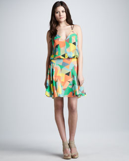 Milly Mosaic-Print Blouson Dress