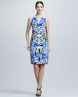 Elie Tahari Nessa Printed Sheath Dress, Lagoon